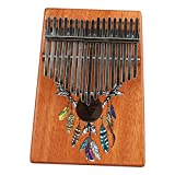WANDIC Kalimba Mbira Sanza 17 Keys Thumb Piano Portable Beginners Friendly Solid Finger Piano Mahogany Body Ore Metal Tines with Painted Feather Dreamcatcher