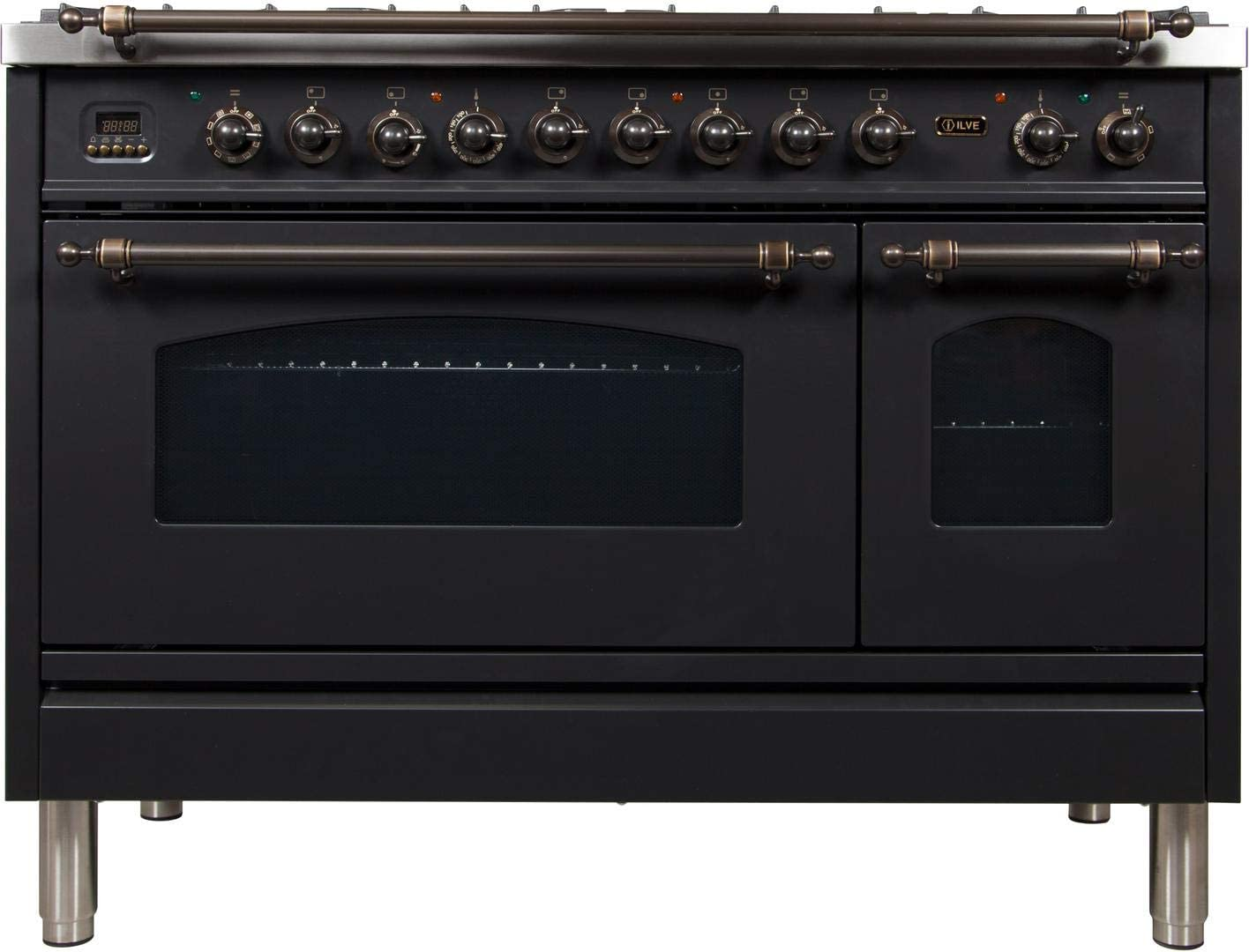 Brass Trim 7 Sealed Brass Burners Ilve UPN120FDMPM Nostalgie Series 48 Inch Dual Fuel Convection Freestanding Range 5 cu.ft Natural Gas Total Oven Capacity in Matte Graphite