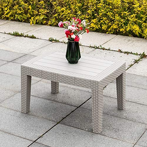 Bonnlo Patio Coffee Table Modern All Weather for Outdoor Garden Backyard Furniture, Grey, Only Table