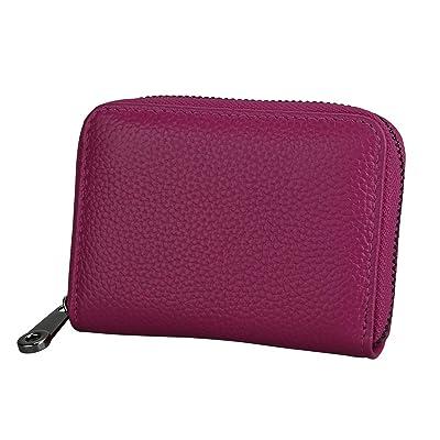 Mooedcoe Tarjetero Hombre Mujer RFID Piel Tarjeteros para Tarjetas de Credito Visita (Rosa): Equipaje