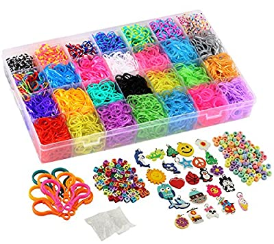 11,750+ Rainbow Rubber Bands Refill Set Includes: 10,750 Premium Loom Bands 42 Unique Colors, 600 Clips, 200 Beads, + 52 ABC Beads to Personalize your bracelet, 24 Charms, 10 Backpack Hooks, Organizer