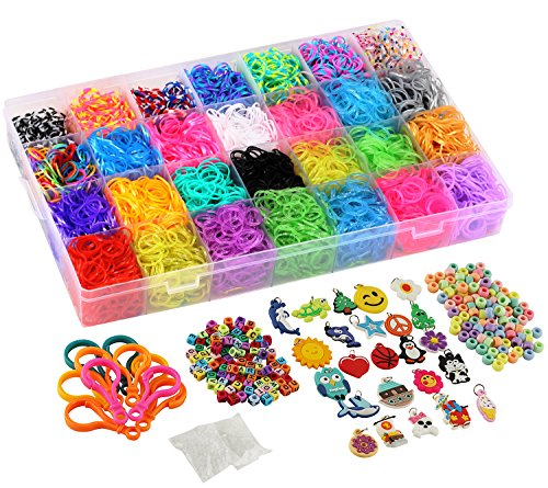 11,750+ Rainbow Rubber Bands Refill Set Includes: 10,750 Premium Loom Bands 42 Unique Colors, 600 Clips, 200 Beads, + 52 ABC Beads to Personalize your bracelet, 24 Charms, 10 Backpack Hooks, Organizer]()
