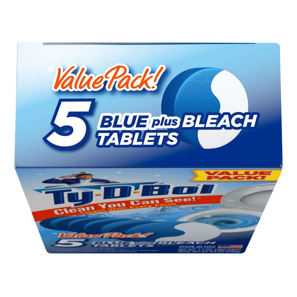 Ty-D-Bol Blue Plus Bleach Tablets Value 5 Pack, Cleans and Deodorizer Toilets for a Fresh Smelling Bathroom (Pack of 10) by Ty-D-Bol (Image #5)