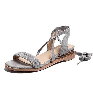 MeiMei Sandalen Weiblichen Clips Sind Alle Weiß mit Einem Flachen Boden Wasser Bohren Perlen von Feld- und NSaikU