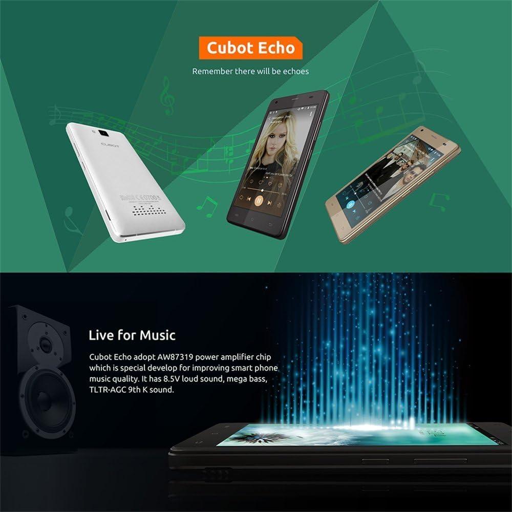 Cubot Echo 3 G Smartphone sin Contrato 5 Pulgadas HD, Pantalla táctil Android 6.0, 2 GB RAM + 16GB ROM. Cámara de 13 MP cámara principal/5MP/frontal, batería de 3000 mAh, Dual SIM. Oro: Amazon.es: Electrónica