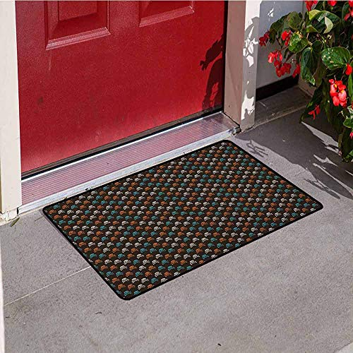 GloriaJohnson Pirates Inlet Outdoor Door mat Different Colored Graphic Skull Figures with Bones on Black Background Halloween Catch dust Snow and mud W15.7 x L23.6 Inch Multicolor -