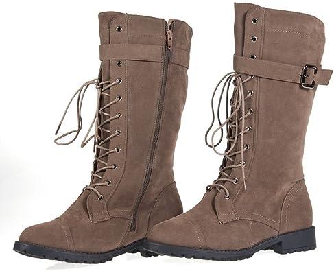 Combat Boots Buckle Vegan Suede Zipper