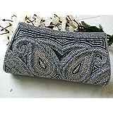 Gray Beaded clutch # Bridal Grey purse # wedding bag # evening art deco # Handmade in India # Ethnic vintage crystal handbag