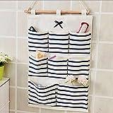XINING Hanging Storage Bag 8 Pocket Hanging Bag Organiser Space Saver Cotton Fabric Wall Door Cloth Case (Blue line)