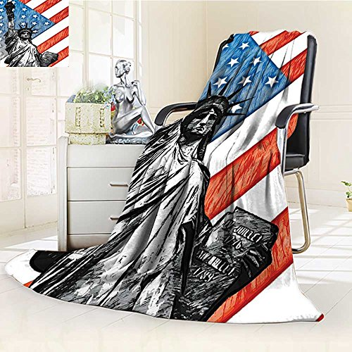 YOYI-HOME All Season Super Soft Cozy Duplex Printed Blanket Flag Sketchy Statue Cultural Icon States Freedom History Country Love Artwork Multi from for Gift Blanket s/W59 x H39.5