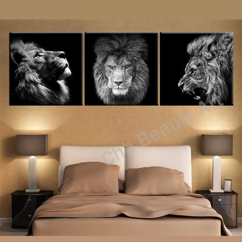 QHUA 3 Panels Lion King leinwand Kunst Moderne abstrakte malerei wandbilder für Wohnzimmer Dekoration Bilder leinwand kein Rahmen, 50x50cmx3