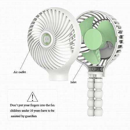 WANYIG Mini Ventilador USB Portatil 3 Velocidades Ajustables Ventilador Hand Fan para beb/é ventilador de escritorio USB flexible blanco