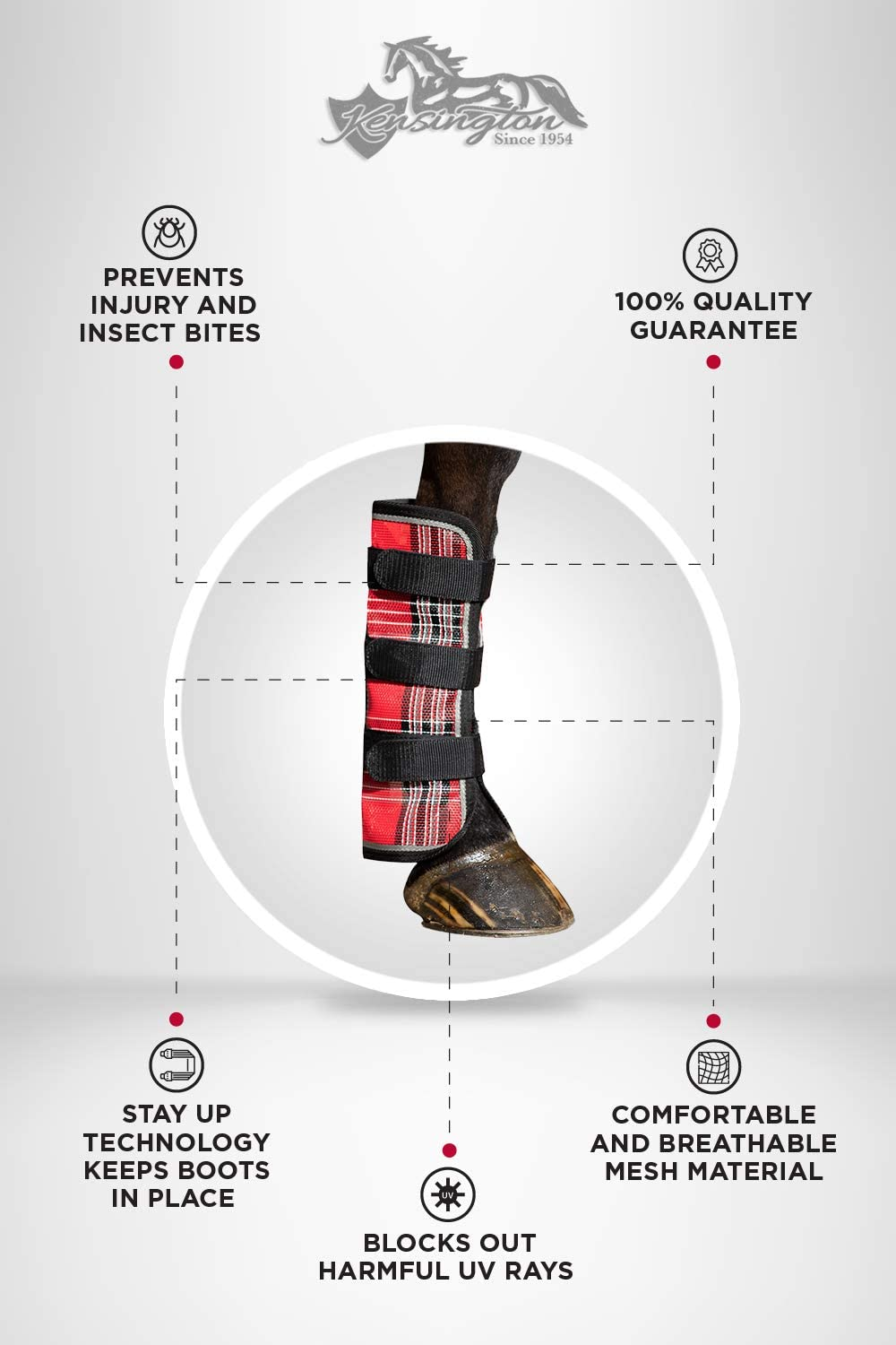 Protection from Insect Bites and UV Rays Kensington Natural Horse Fly Boots Sold in Pairs Web Trimmed Stay-Up Technology 2 Boots