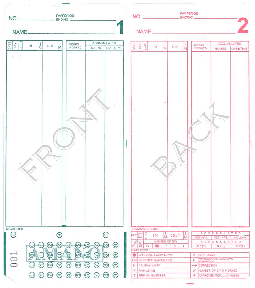 (2000) Amano MJR-8000 Time Clock Cards, 000-249 Number Series by COMPUMATIC