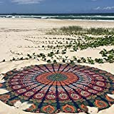 Popular Handicrafts Popular Round tapestry Indian Mandala Roundie Beach Throw Tapestry Hippy Boho Gypsy Cotton Tablecloth, Round Yoga, picnic sheet By