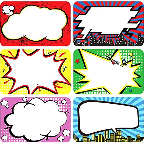 200Pcs Roll Superhero Name Tags Labels Perforation Line Design for School Office Home Stickers]()