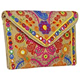 Cute Handmade Ethnic Embroidered Banjara foldover Clutch Purse-Sling Bag-Cross Body Bag (Veg Color)