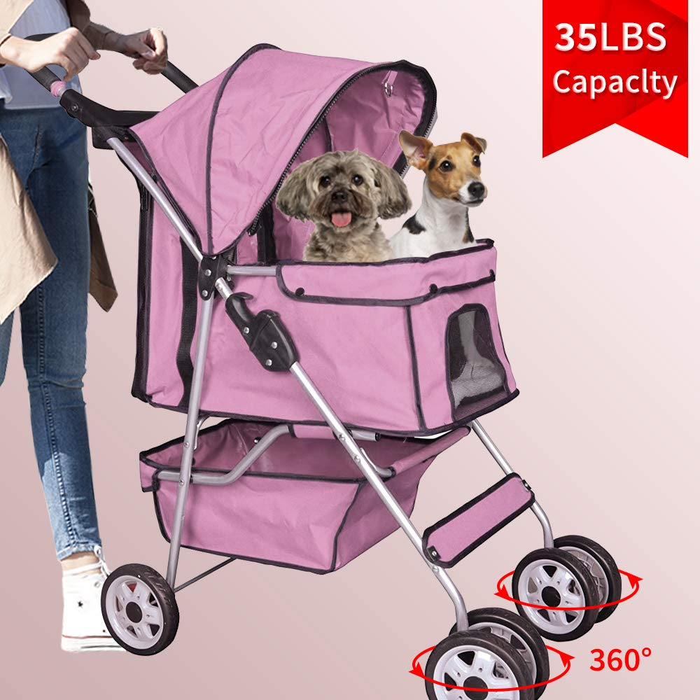 4 Wheels Dog Stroller Pet Stroller Cat Stroller Pet Jogger Stroller 35lbs Capacity Travel Lite Foldable Carrier Strolling Cart W/Cup Holders Removable Liner for Small and Medium Dog,Pink (Pink)
