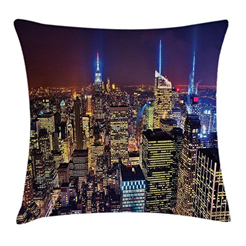 Penthouse Accent - kOougjid New York Throw Pillow Cushion Cover, Aerial Cityscape Landmark Fourth of July Independence Penthouse Modern Art Image, Decorative Square Accent Pillow Case, 18 X 18 Inches, Purple Gold
