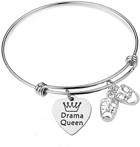 Drama Comedy Tragedy Mask Silver Expandable Charm Bracelet Adjustable Bangle Drama Club Gift Theater