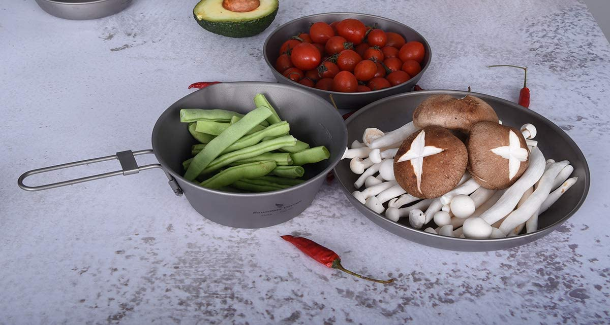 camping picnic Boundless Voyage mesa port/átil para arroz arroz al aire libre Cuenco de titanio con mango plegable para exteriores taz/ón Ti15156B