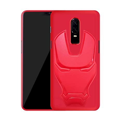 new product 9425a 2f6c4 Case Creation 3D Feel Marvel Avengers Logo Mask Soft Rugged Grip Silicone  Iron Man Rubber Matte Back Cover for Oneplus 6 - Red
