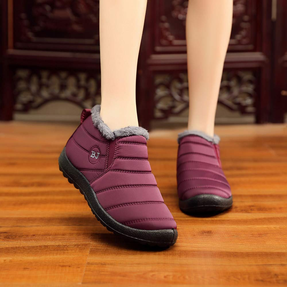 29314b9d55370 Mysky Winter Women Solid Color Keep Warm Ankle Boots Ladies Leisure ...