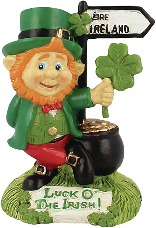 Leprechaun With Pot Of Gold And Dublin Road Sign Ornamental Statue