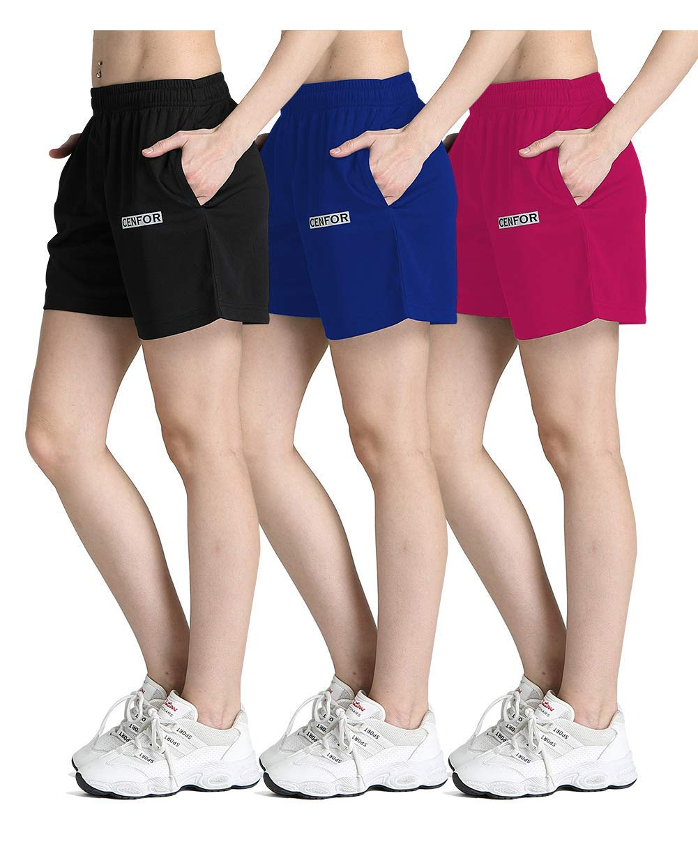 CENFOR Women's 5'' Quick Dry Workout Running Shorts with Pockets for Gym, Training, Jogging and Leisure Set (Black,Blue,Rose Red,3 Piece S) by CENFOR