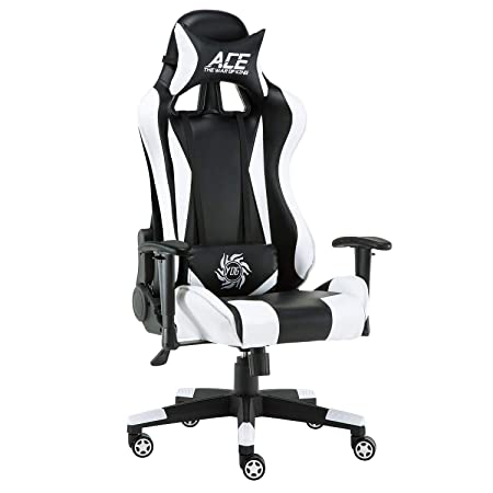 Baishitang Gaming Chair Ergonomic PC Racing Chair with Adjustable Armrest High Back Computer Office Chair with Headrest and Lumbar Support White