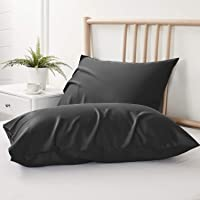 BEDELITE Bamboo Cooling Pillowcases Set of 2, Black Pillow Cases Standard Size Breathable and Ultra Soft from 100…