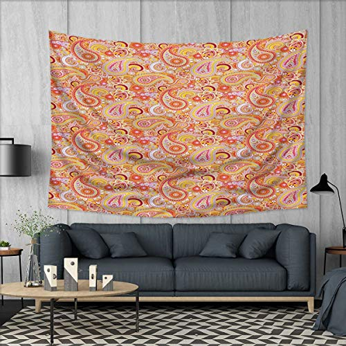 Needlepoint Brown Paisley (Anhuthree Orange Tapestry Wall Hanging 3D Printing Asian Design Elements Traditional Paisley Floral Pattern Swirls Leaves Ethnic Motif Beach Throw Blanket 60