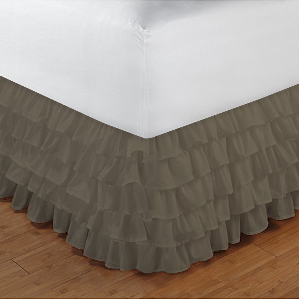 Relaxare Cal Queen 300TC 100% Egyptian Cotton Taupe Solid 1PCs Multi Ruffle Bedskirt Solid (Drop Length: 19 inches) - Ultra Soft Breathable Premium Fabric