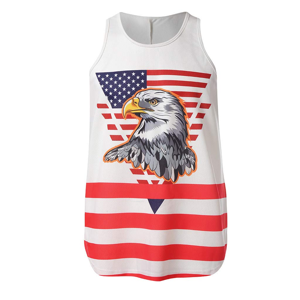 Mr.Macy Mens Sleeveless Independence Day Printing Mesh Breathable Bodybuilding Sport Vest