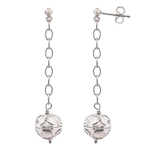 Sterling Silver White Cultured Freshwater Pearl Dangle Earrings 8-9mm – Perfect Gift
