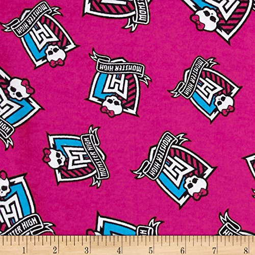 David Textiles High Flannel Crest Toss Monster Pink Fabric by The Yard