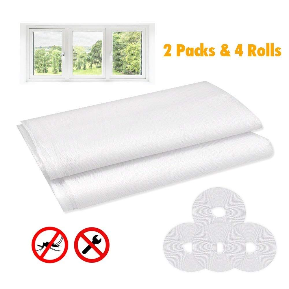 Window Insect Screen Net【2 Pack, White】, ULGAI Mosquito Insect Mesh Screen Protector Kit, 1.3m x 1.5m Fly Screen Net for Window with Self Adhesive Tapes【4 Rolls】,Breathable and Washable White】
