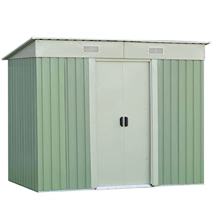 Ordinaire Goplus Galvanized Steel Outdoor Garden Storage Shed 4 X 8 Ft Heavy Duty  Tool House W