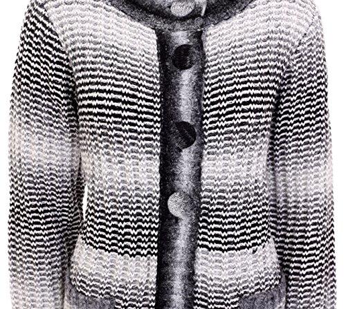 Señoras manga larga de punto grueso Fluffy parche bolsillo con palangre perchero de pared de Aran Cardigan recubrimiento womencoatigan de líneas entretejidas Plus tamaño 14161820 negro