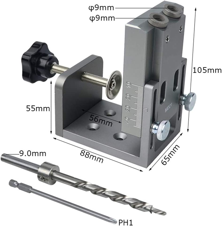 Woodworking Pocket Hole Locator Jig Kit Wood Doweling Hole Puncher with 9Mm Step Drill Bit Angle Drill Guide Tools Type-E Type-c