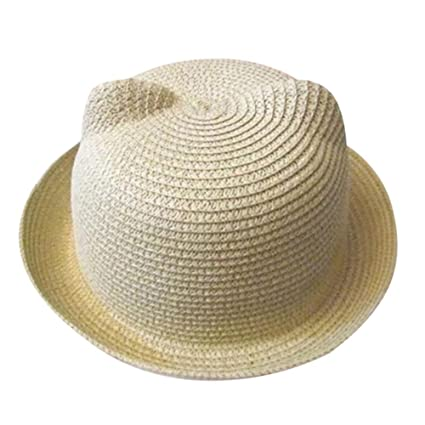 cab1c02891 Simayixx Unisex Kids Cat Ear Straw Hat Beach Sun Visor Cap Summer  Breathable Hat For Boys