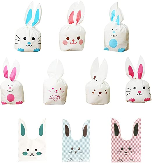 50Pcs DIY Bunny Rabbit Ears Gift Wrap Bags Cookie Dessert Candy Treat Gift Bags