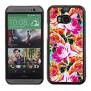 Be Good Phone Accessory // Dura Cáscara cubierta Protectora Caso Carcasa Funda de Protección para HTC One M8 // Orange Pink Teal Flowers