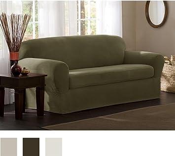 Elegant Maytex Reeves Stretch 2 Piece Sofa Slipcover, Sage