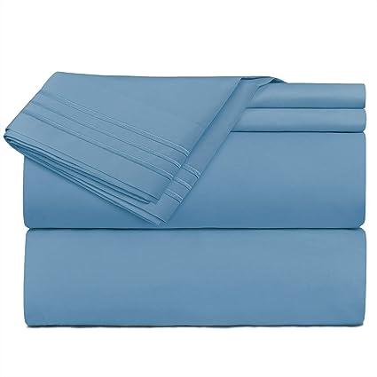 Flex King Bed Sheets Set Top Head Split Bedding 4-Piece Deep Pocket Fits Sleep#