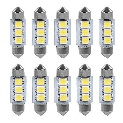 Bombillas de luz LED, 10 pcs 12V 5050 3 SMD Festoon Dome Bombillas de luz