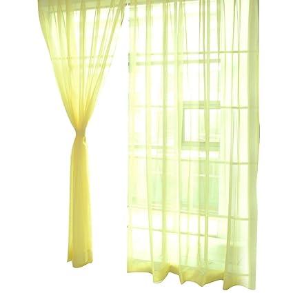 VORCOOL Tenda gialla di tulle trasparente per Finestra di Camera da ...