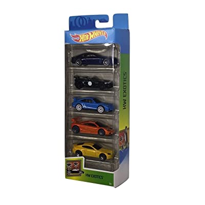 Hot Wheels 2020 HW Exotics 5-Pack (Cadillac Elmiraj, 2015 Jaguar F-Type Project 7, Porsche 911 GT3 RS, McLaren F1 GTR, Aston Martin V8 Vantage): Toys & Games