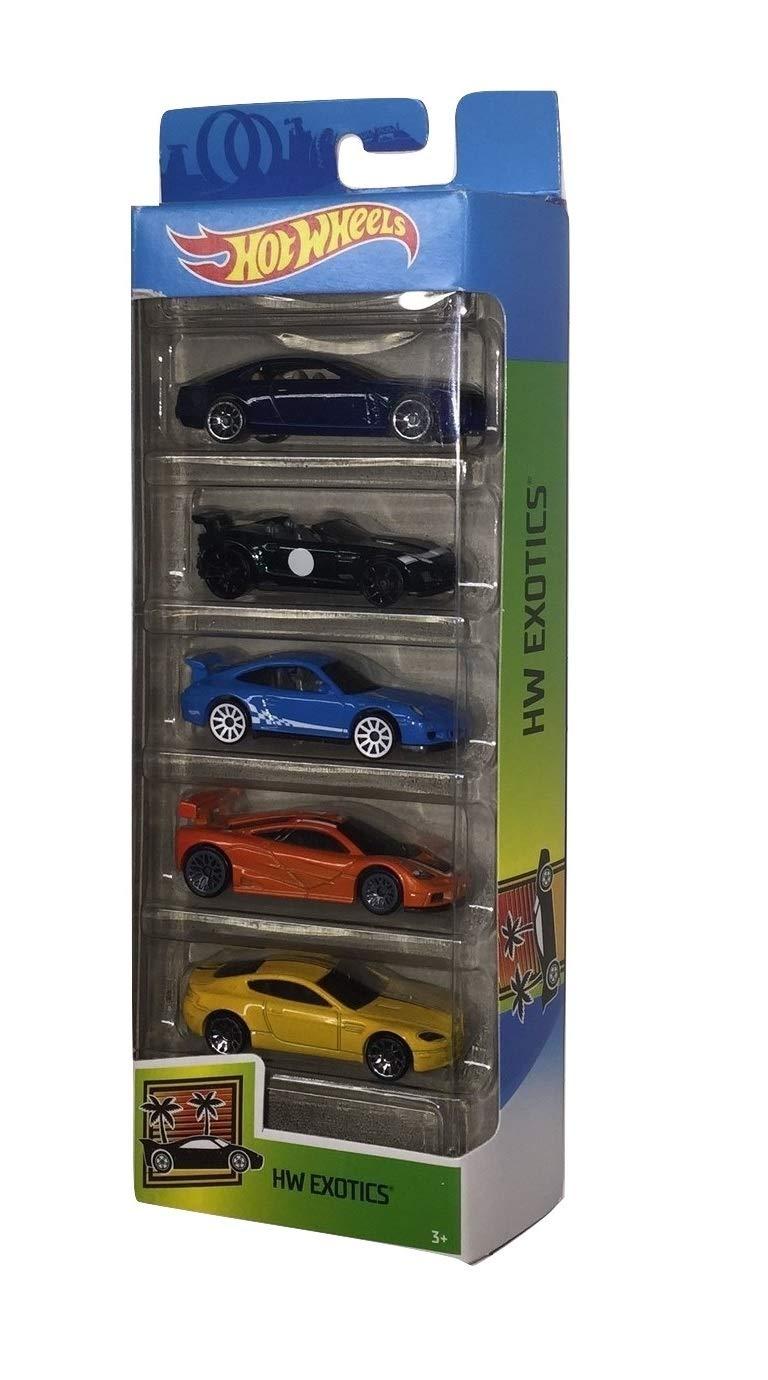 Hot Wheels 2020 HW Exotics 5-Pack (Cadillac Elmiraj, 2015 Jaguar F-Type Project 7, Porsche 911 GT3 RS, McLaren F1 GTR, Aston Martin V8 Vantage)