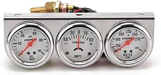 Meisijia Automobile Pression d'huile/température de l'eau/Courant 3-en-en1 52mm mètre Instrument Panel Blanc
